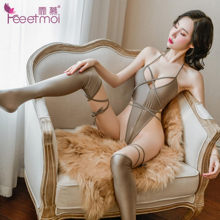 FEE ET MOI Strappy Open-Back Cheeky Bodysuit (Gray)