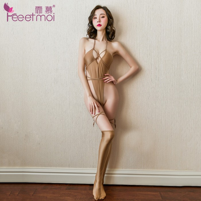 FEE ET MOI Strappy Open-Back Cheeky Bodysuit (Gold)