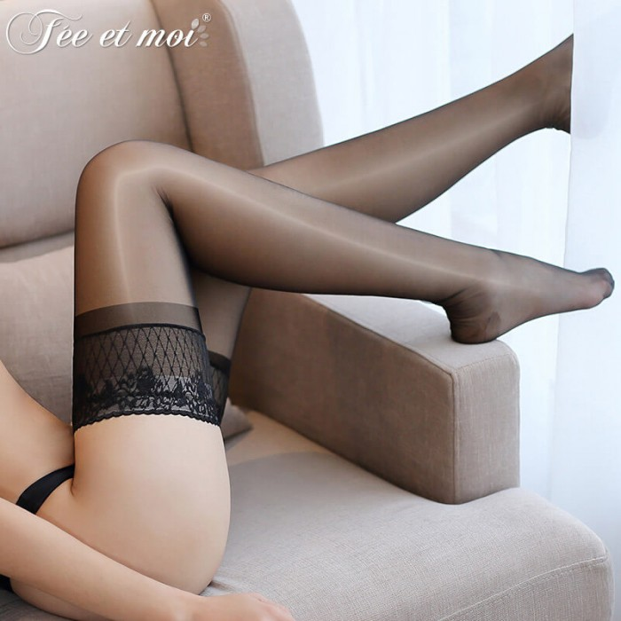 FEE ET MOI Sexy Floral Lace Stockings (Black)